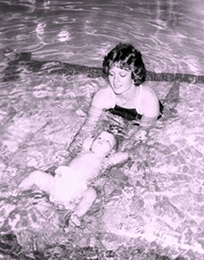 Australian Swim School's Baby Swim Program took off in the 1970s as babies were taught to roll over and float on their backs in the event that they fell into a backyard pool or spa.