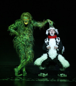 Stefan Karl as The Grinch with Seth Bazacas as Young Max