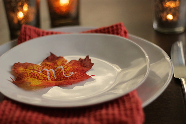 fall leaf & napkin