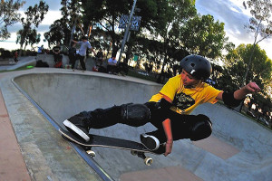Freshman Trent Bowman of Huntington Beach competes in the NSSL league contest May 2014 at Volcom Skatepark in Costa Mesa
