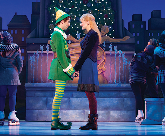 Matt Kopec (Buddy), Kate Hennies (Jovie) and the cast of ELF The Musical
